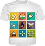 100ANB - INDIA (1 - 6A) OM - SYMBOL FOR PEACE OF MIND YOGA - COLOR FULL SPIRITUAL RELIGION BELIEFE HINDU GOD - GRAPHIC PRINTED DRIFIT T-SHIRT, SIZE : LARGE (42)