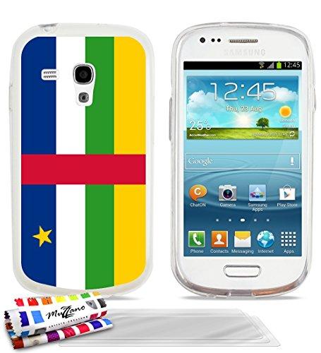 """Carcasa Flexible Ultra-Slim SAMSUNG GALAXY S3 MINI ( I8190 ) de exclusivo motivo [Bandera Centro de Africa] [Transparente] de MUZZANO + 3 Pelliculas de Pantalla """"UltraClear"""" + ESTILETE y PAÑO MUZZANO REGALADOS - La Protección Antigolpes ULTIMA, ELEGANTE Y DURADERA para su SAMSUNG GALAXY S3 MINI ( I8190 )"""