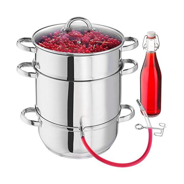 TecTake Pentola Estrattore di Succhi Succo di Frutta Verdura Acciaio Inox AISI 430 Ø: 26 cm - 2021 -