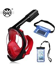 UGI® 180 grados de visión de la máscara de buceo con la cara completa de respiración de diseño Tubo plegable Compatible para cámaras de acción (S/M) + impermeable bolsa de Smartphone y cintura