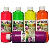 PICCOLINO Stoffmalfarben Textilfarben Set 5 Neon-Farben je 500ml - Neongelb Neonorange Neonpink Neongrün Neonviolett
