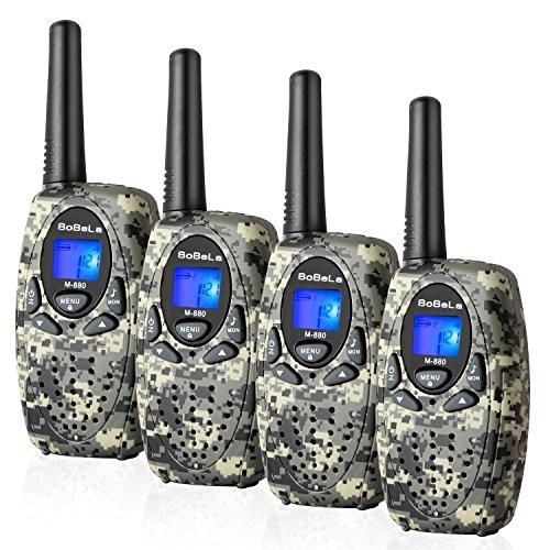 Bobela M880 Walkie Talkies für Kinder Funkgerät Set mit Kordel LCD Dispplay / 3Km Lange Reichweite Walky Talky 8 Kanal 0.5w PMR VOX Walki Talki Geschenk für Auto Zelten Wandern (4er Set, Tarnung)