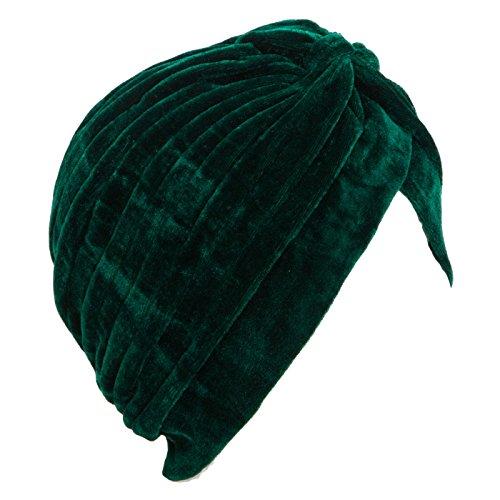 Toocool - Turbante Donna Cuffia Retro Fascia ciniglia Cappello Pieghe Caldo Nuovo BE-1757 [Taglia Unica,Verde]