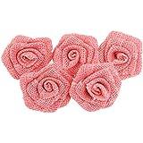 PIXNOR Fiori della rosa della tela di iuta della tela da imballaggio 5 Pack per decorazione di natale nozze (rosa)