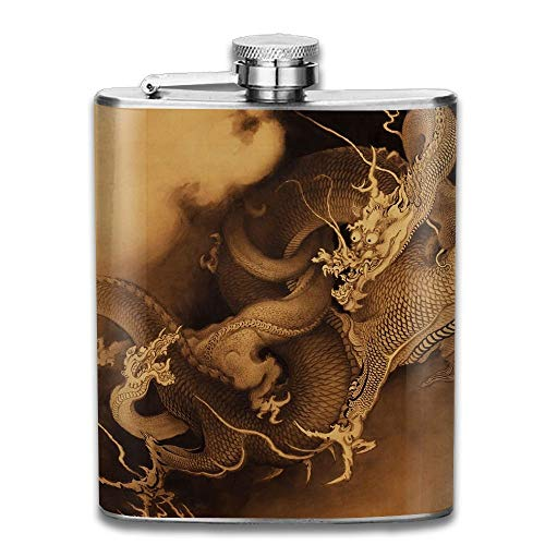 Stainless Steel Hip Flask 7 Oz (No Funnel) China Dragon Full Printed -