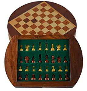 CCIC Handicraft Chess Board Drawer Round SHEESHAM Wood Magnet 9 INCH and Colors