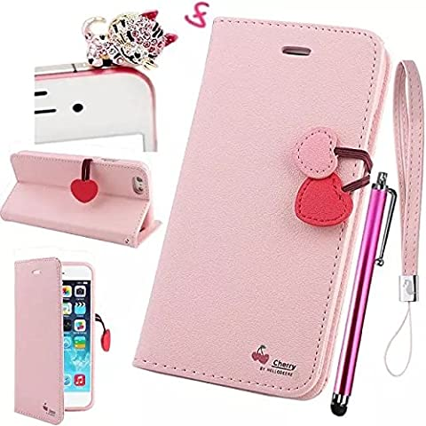 Vandot 3x1Slim-Book Funda de Cuero con Soporte para Apple iPhone 5 5S Funda Elegante, Cover, Bookstyle Book Case, Carcasa con función de Soporte - Estilo Cartera con Card Holder Alta Calidad Wallet case Con Interruptor Magnético Pink+Diamante Rhinestone Gato Enchufe de anti polvo Diseño de Cherry Cereza+lápices