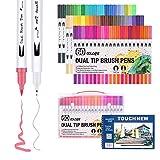 60 pennarelli colorati a doppia punta (a pennello e fine), inchiostro ad acqua, per libri da colorare, schizzi, dipinti, disegni, design di moda e fumetti 60 Colours