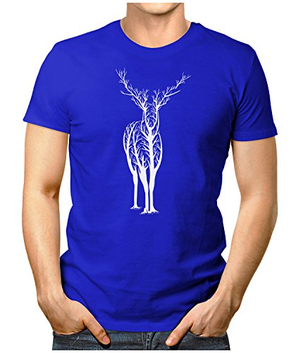 PRILANO Herren Fun T-Shirt - DEER-TREE - Small bis 5XL - NEU Blau