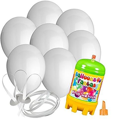 50x Rundballons weiss Ø25cm + Helium Ballongas + PORTOFREI + 50x Ballonflugkarten + Geschenkkartenset. High Quality Premium Ballons vom Luftballonprofi & deutschen Heliumballon Experten. Tolle Luftballondeko und Geschenkidee mit