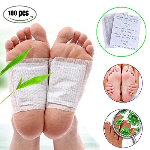 risingmed 100Patches Natürliche Detox Foot Pads Patch Entgiften Toxine Schmerzlinderung Foot Care Relax Health Care entfernen Körper Giftstoffe Gewicht Verlust Stress Relief (Stuck-patch)