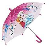 Kinder Schirm Disney Frozen Die Eiskönigin für Mädchen - Stockschirm mit ELSA Anna und Olaf - Robuster und windfester Regenschirm - Rosa - 66 cm Durchmesser - 3 bis 5 Jahre - Perletti