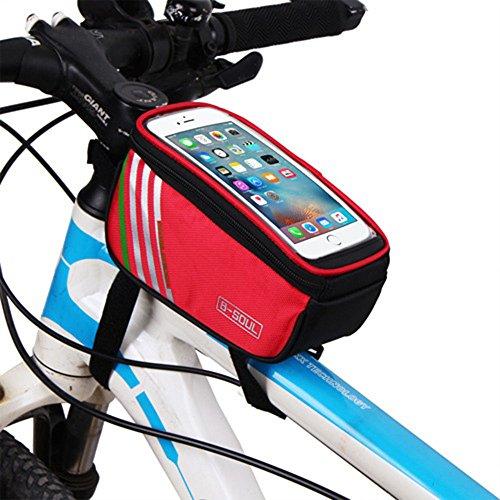 G-W-J Fahrradrahmen Tasche, Handytasche Fahrrad Wasserdicht Vorne Top Rohr Fahrrad Touchscreen Sattel Tasche Rack Fahrrad Tasche Für Smartphone,Red,4.8Inches
