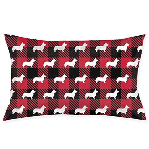 Rghkjlp cuscino case corgi buffalo plaid red novelty cute funny soft and cozy with hidden zipper 1pc queen size 20''x30''