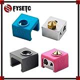 Laliva 3D-Drucker - 2 x Blau/Schwarz/Pink MK10 Silikonsocken, statt Keramik-Isolierung für Wanhao i3 Flashforge Silikon Heizblock Abdeckung black sock