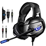 PC & PS4 Gaming Headset -Gaming Kopfhörer 4D Stereo Große Ohrenschützer mit Mikrofon Speaker blaue LED Lichteffekt Spielkopfhörer & 1-2 Transfer Kabel für PC, Switch, Laptop, Tablets, Handy, ps4, xbox1