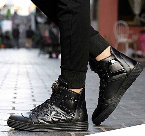 Hommes Casual Skateboard Chaussures Britannique New Hi-top Sneakers Mode Modélisation Fourrure Doublée De Chaussures Plates Noir