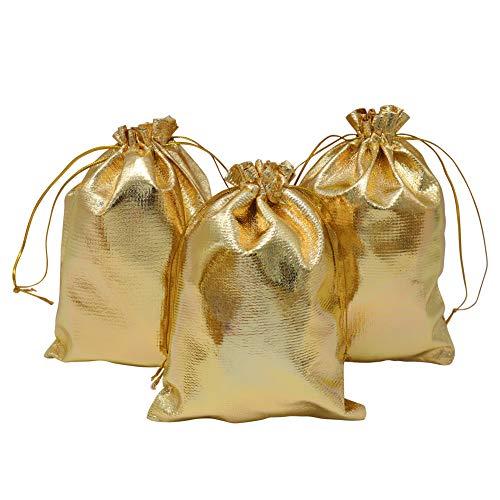 HRX Geschenktüten mit Kordelzug, goldfarben, 12,7 x 17,8 cm, für Schmuck, Partys, Geschenktüten für Hochzeit, Geburtstag, Weihnachten, Candy Bar