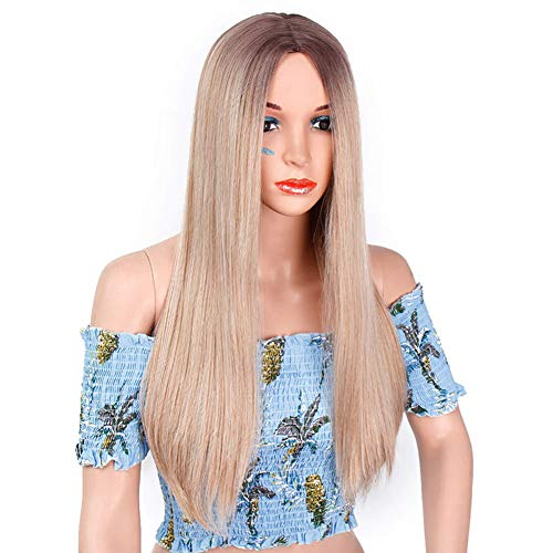 YANXS Perücke Damenmode Blonde Lange Glatte Haare Hochwertige Hitzebeständige Synthetische Perücke Daily Wear Cospaly Party Haar 26 Zoll (Girl Power Perücke)