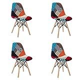 Juego de 4 sillas Multicolor de Patchwork, de Egoon, para el Ocio, el salón, con Respaldo Suave