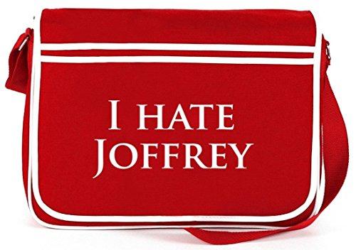 Shirtstreet24, I HATE JOFFREY, Retro Messenger Bag Kuriertasche Umhängetasche Rot