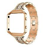 komise Elegante Legierung Kristall Armbanduhr Band Wrist Strap mit Metall Rahmen für Fitbit Blaze Smart Watch, ca. 135–200mm Einheitsgröße rose gold