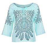 JUTOO Dawomen Printing Stand DREI Größen Bluse Top T-Shirt(Minzgrün,EU:42/CN:L)