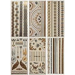 Tatuajes Temporales dorados,ZoneYan 6 Piezas 70 Patrones Tatuajes Temporales, Lujo Metálico Oro y Plata Flash Tatuaje, Extraíble Impermeable Adhesivos Removibles