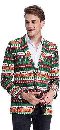 YOU LOOK UGLY TODAY Modisch Herren Party Blazer Halloween Weihnachten Kostüme Festliche Sakko Party Sakko mit Lustigen Mustern Mehrfarbig Grün