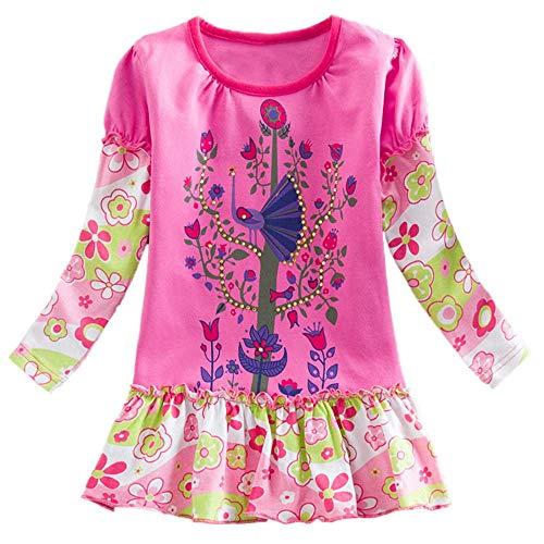 aby Mädchen, Kleinkind Baby Mädchen Blumen Blume Patchwork Geraffte Mädchen Party Kleid Kleidung Minikleid Elegante Lässige Mode Skrit Tutu Kinder Geschenk(4-5Y,Hot Pink) ()