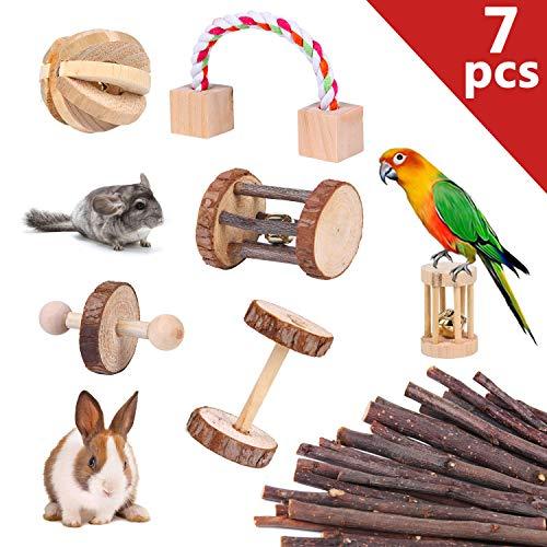 Youthunion giocattolo criceto per pappagallo, 7pcs giochi per macinare i denti pet roll giocare piccoli roditori coniglio cavia porcellus uccelli di materiale di legno mela