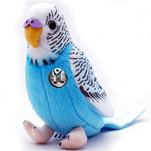 Kuscheltiere.biz Wellensittich BUBI blau 19 cm Sittich Vogel Plüschtier