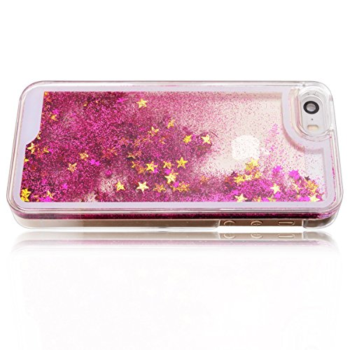 iPhone 5 Hülle, iPhone 5s Hülle, iPhone SE Hülle, E-Lush PC Hardcase 3D Bling Fließen Dynamisch Treibsand Quicksand Schwimmend Flüssige Liquid Gliter Shinny Sparkle Kristall Crystal Flowing Floating M Rose Rot