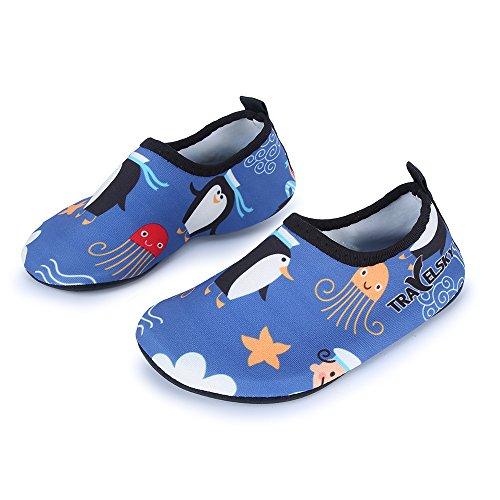 L-RUN Wasserschuhe Haut Aqua Socken für Swim Beach Pool Surf Yoga Blau 4-5 = EU20-21 (Blue-aqua-socken)