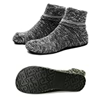 Women Slipper Socks Warm Thick Home Shoes Socks with Soles Rubber Bottom Non Slip Fun Wear (L (Shoes Size 8-9), Thick Black)