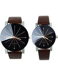 Gossip Boy Pareja de relojes de pulsera para hombre y mujer, con esfera redonda de cuarzo y correa de piel