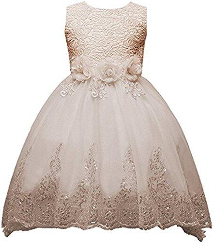 AGOGO Mädchen Kinder Kleider Blumenmädchenkleid Mädchen Tüll Spitzen Kleid Ärmellos mit Watteau-falte Zug Pailletten Dekor Hochzeit 4-12 Jahre alt (150CM/ 9-10 Jahre, Champagner)