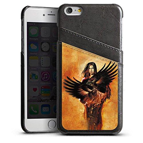 Apple iPhone 4 Housse Étui Silicone Coque Protection Ange Ailes Femme Étui en cuir gris