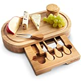 VonShef Oval Bamboo Cheese Board with Knives