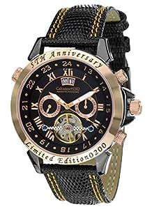 Calvaneo 1583 Herren-Armbanduhr Astonia 5th Anniversary Blacknight Rosegold Analog Automatik Leder schwarz 107641