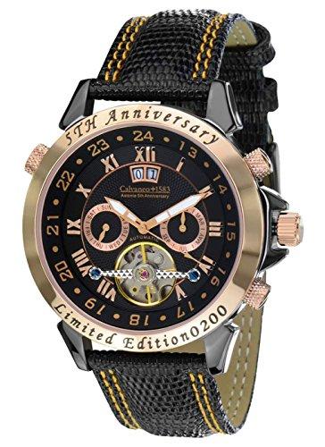 Calvaneo 12544 - Reloj, correa de cuero color negro