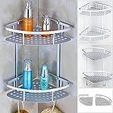 Pixnor Dusche Regal-Aluminium 2-stufig Bad Ecke Storage Rack Veranstalter (Silber)