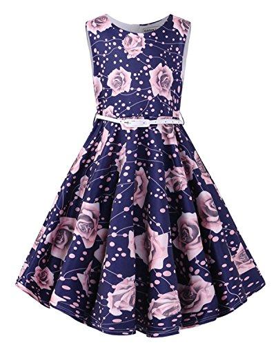 Kidsform Mädchen 1950er Vintage Retro Kleid Hepburn Stil Kleid Blumen Rock Taufkleid Kinder Geburtstag Kleid Rosa Blume 3-4Y
