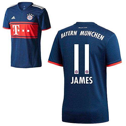 Herren Away Trikot (Adidas FC Bayern München FCB Away Trikot 2017 2018 Herren Kinder mit Spieler Name navy Farbe James, Größe 164)