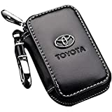 Toyota Black Leather Car Key Case Coin Holder Zipper Remote Wallet Key Chain Bag