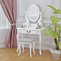 Tuff Concepts Girls Mirrored Dressing Table Makeup Desk with chair and 5 Drawers for Bedroom