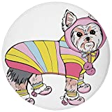 ZHIZIQIU Round Rug Mat Carpet,Yorkie,Cute Dog with Sports Gear on Running Gear on Going for a Walk Colorful Dress Fun Decorative, Flannel Microfiber Non-Slip Soft Absorbent,for Kitchen Floor Bathroom