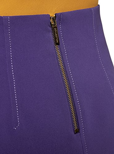 oodji Ultra Donna Gonna a Trapezio con Tasche Decorative Viola (7500N)