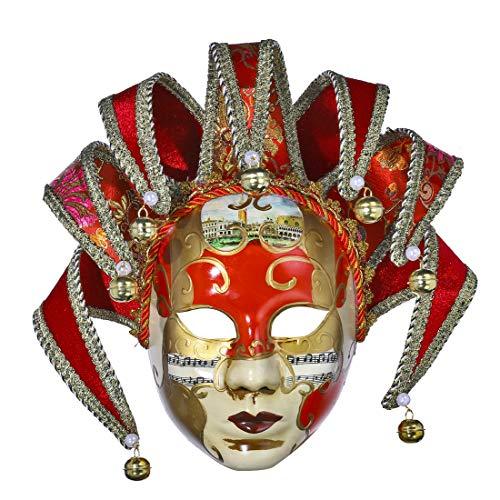 YU FENG Maskerade Maske Jester venezianischen Harz Musik Karneval Wand Halloween Dekoration Geschenk (rot) (Und Schwarz Jester Rot Hut)
