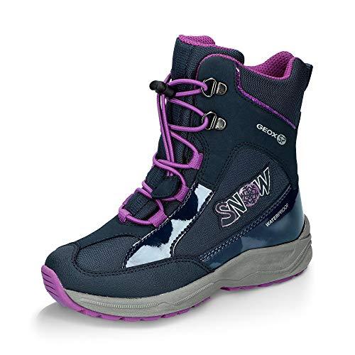 Geox Mädchen Snowboots New Alaska Girl, Kinder Stiefel,Winterstiefel,Schneestiefel,Thermostiefel,Moon Boots,Canadians,Navy/Purple,35 EU / 2.5 UK -